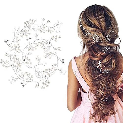 THETAG - Accessorio per matrimonio, donna, festa, compleanno, gioiello per capelli, perle, matrimonio, capelli, decorazione per sposa, sposa, con strass