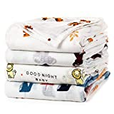 upsimples Baby Swaddle Blanket Unisex Swaddle Wrap Soft Silky Bamboo Muslin Swaddle Blankets Neutral Receiving Blanket for Boys and Girls, Large 47 x 47 inches, Set of 4-Sika Deer/Elephant/Lion/Fox