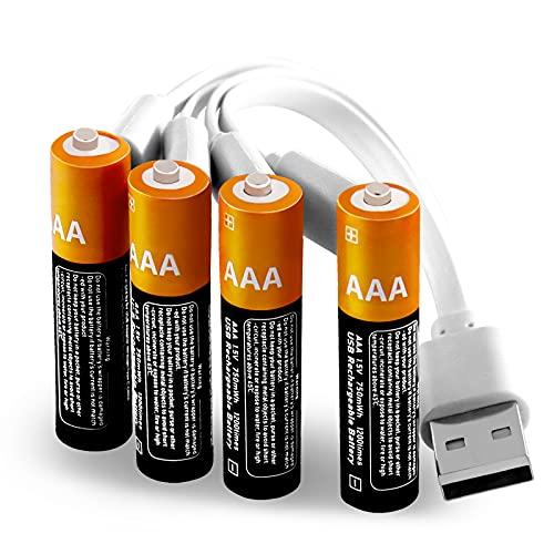 Lithium AAA Akkus Wiederaufladbare batterien 1,5V 750mWh mit 4-in-1 USB Typ-C Kabel Schnellladung in 1,5 Stunden,1200 Zyklen recycelbar-4 Stück