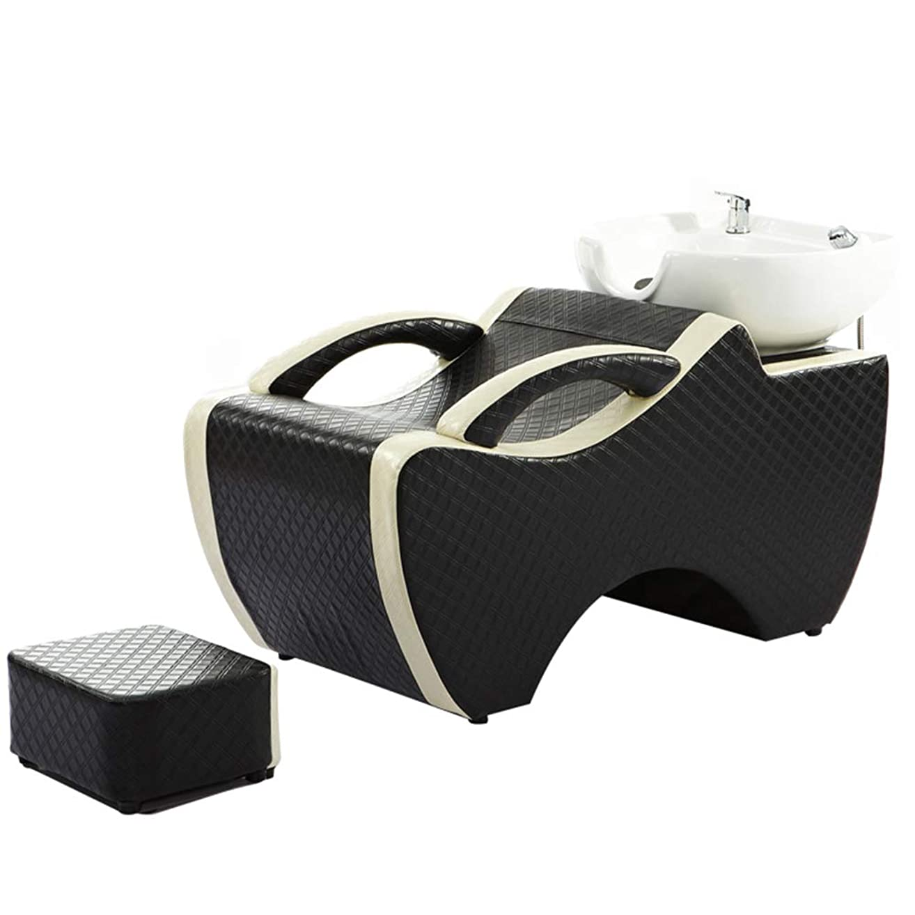 芸術悪因子困難シャンプー椅子、逆洗ユニットシャンプーボウル理髪シンク椅子用スパ美容院ベッドセラミック洗面台