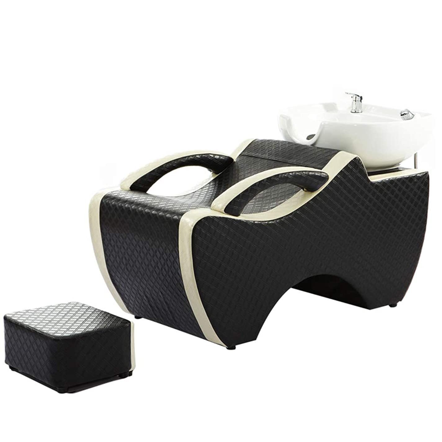 離れた暴露するアンテナシャンプー椅子、逆洗ユニットシャンプーボウル理髪シンク椅子用スパ美容院ベッドセラミック洗面台