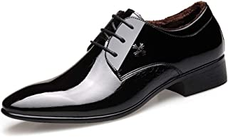 GYHS Oxford Shoes Men's Business Casual Shoes With Pointed Patent Leather Snakeskin Embossed PU Leather Non-slip Black