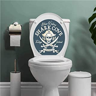 Thinkinghome Pirate self-Adhesive Shark Cove Tortuga Island Caribbean Waters Retro Jolly Roger Resistant to Water Slate Blue White Light Mustard W14XL16 INCH
