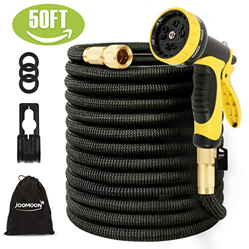 Panda Grip [Updated 3750D 75ft Garden Water Hose Expandable and Flexible Strongest Triple Latex Core with 3/4 Solid Brass Fittings 10 Function Spray Nozzle 3750D Fabric for Watering and Cleaning