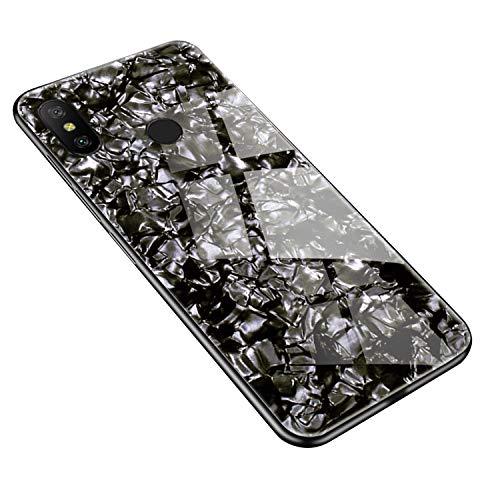 SHIEID Funda para XiaoMi Redmi Note6,Mármol Vidrio Templado de Case Cover Ultra Fina Silicona Gel Caja Carcasa Antideslizante de Carcasa Blanda para XiaoMi Redmi Note6 (Negro)