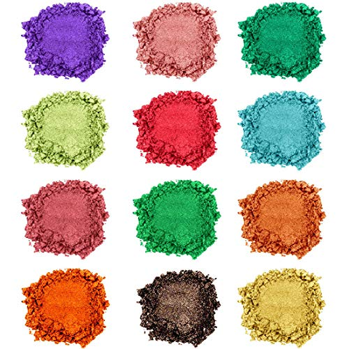 Mica Powder,Lip Gloss Pigment Powder,Natural Resin Dye Mica Powder for Epoxy,soap Making,DIY Slime Coloring,Bath Bomb Colorant,Paint,Makeup Dye,Nail Art,Eye Shadow,Craft Projects,Artist,Candle Making