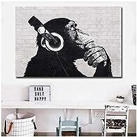 面白い猿の壁アートHDプリントキャンバスアート動物油絵壁画リビングルーム装飾モジュラー画像60x80cm(24x32in)