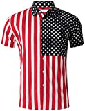 XI PENG Men's Tropical Short Sleeve Floral Print Beach Aloha Hawaiian Shirt (Stripe American Flag Patriotic, Large)