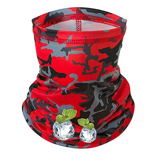 Peabownn [Cooling] -5℉ Summer Neck Gaiter Bandanas Headwear Camouflage Red
