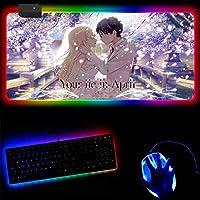 ゲーミングマウスパッド四月は君の嘘アニメRGBラージゲーミングマウスパッド滑り止めラバーベースコンピューターデスクマット14ライトモードLEDマウスパッドラージ拡張キーボードマット-(D)_40x45x0.4cm