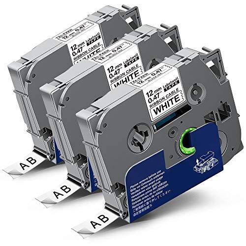3x Labelwell 0.47 12mm x 8m White Sostituzione Nastro Compatibile per Brother Tz Tze-FX231 TzeFX231 Flessibile Nero su Bianco per Brother P-Touch PT-H105 PTH107 PT-1000 1280 H100LB PT-P950NW PT-H108GT