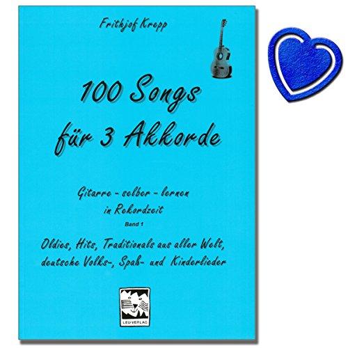 100 songs voor 3 akkoorden band 1 (blauw) - gitaarschool van Frithjof Krepp - gitaar instap en opfrissing met 300 moderne en bekende liedjes - met kleurrijke hartvormige muziekklem
