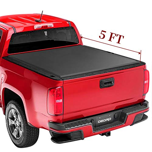 oEdRo Upgraded Soft Tri-fold Truck Bed Tonneau Cover On Top Compatible with 2015 2016 2017 2018 2019 2020 Chevy Colorado/GMC Canyon with 5ft Bed, Fleetside