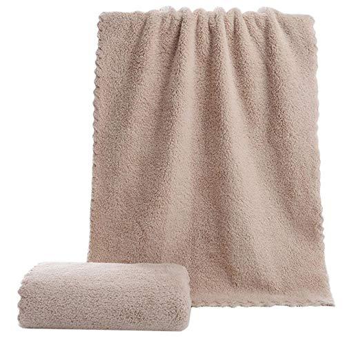Xiaobing Toalla Suave baño seco Pelo Absorbente Doble Cara Coral Terciopelo Microfibra Toalla -marrón-60x30cm