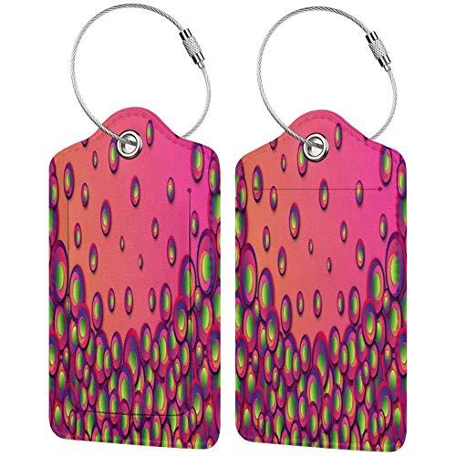FULIYA - Juego de 2 etiquetas de cuero para maletas, identificador de viaje para bolsos y equipaje, para hombres y mujeres, círculos, patrones, rosa, verde