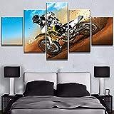 Yuanjun Pegatinas De Pared Nuevo 5 Piezas/Sets Lienzo Pinturas Sobre Lienzo Hd Tela Cartel150X80Cm Xxl Enmarcado Motocross Racing