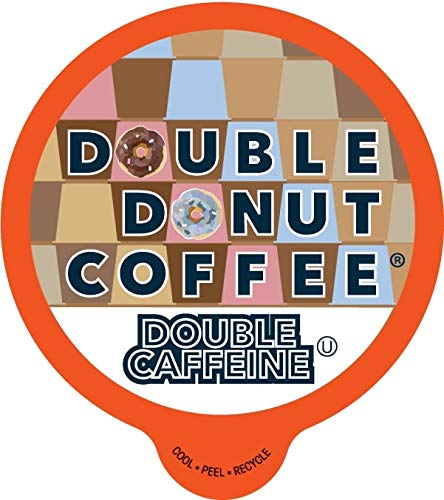 Double Donut Double Caffeine, Fresh Dark Roast Coffee, Single-Serve Pods for Keurig K Cup Brewer Machines, 24 Capsules per Box