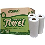 COOLINKO 12 Huge Paper Towel Rolls, 2 Ply, 160 Sheets White Perforated Large Size