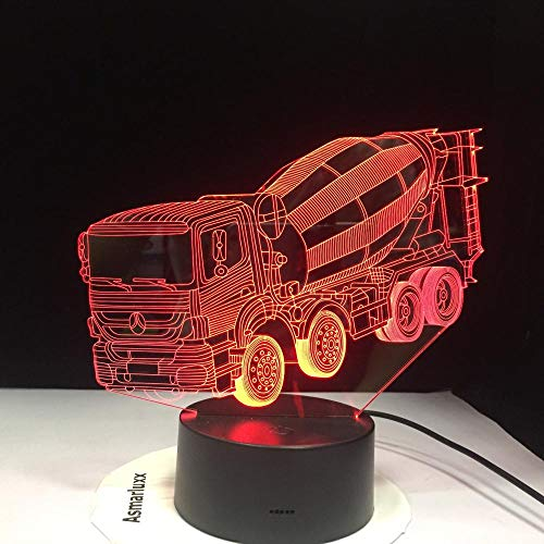 7 Colors Changing Night Light 3D LED Blender Car Table Desk Lamp Children'S Bedside Sleep Mixer Truck Lightings Xmas Gifts Decor