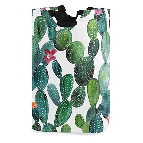 N\A Aquarell Kaktus Tropical Garden Wäschekorb, wasserdichte und Faltbare Wäschesack mit Griffen für Baby Nursery College Dorms Kinderzimmer Badezimmer