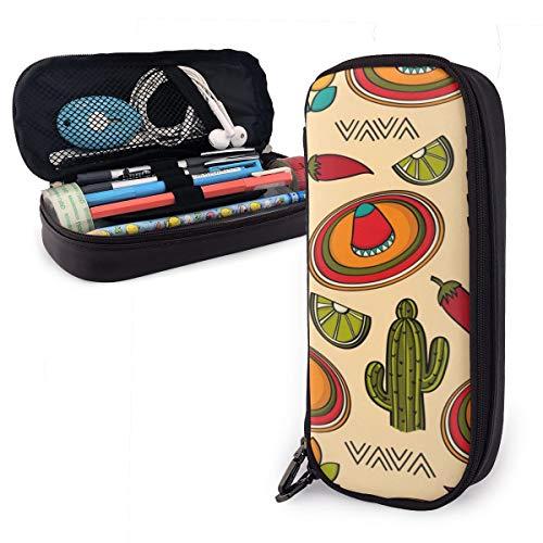 Mexiko-Symbole, Kaktus-Mütze, große Kapazität, langlebiges Leder, Federmäppchen, Make-up-Tasche mit Reißverschluss für Schule und Büro