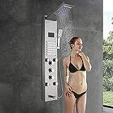 Saeuwtowy El panel de ducha LED tiene cinco funciones de ducha, tres modos de ducha de lluvia, sistema de ducha de masaje con espray en la espalda, níquel cepillado de acero inoxidable