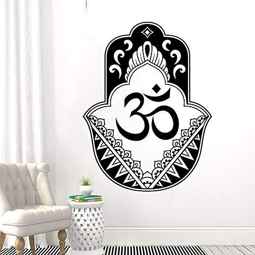 zhuziji Pared Colgante Vinilo Arte Mano Fátima Etiqueta de la Pared Diseño Oriental Yoga Tatuajes de Pared Fátima Mano Mural Decoración del hogar 57x75cm