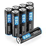 EBL 8 Pack 3000mAh 1.5V Lithium AA Batteries - High...