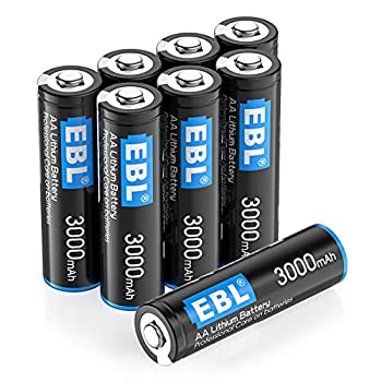 EBL 8 Pack 3000mAh 1.5V Lithium AA Batteries - High Performance Constant Volt Double A Battery for High-Tech Devices  Non-Rechargeable