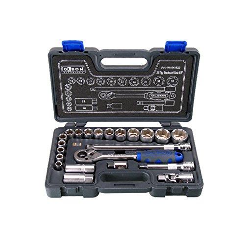 "HaWe Steckschlüsselsatz 1/2"" Olson | Chrom-Vanadium-Stahl | 22-teilig im Kusto-Koffer"