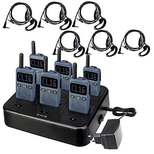 Retevis RB619 Walkie Talkie con Auricular, Cargador de 6 Vías, Radio de Larga Distancia, Radio Bidireccional PMR446 sin Licencia para Hoteles, Clubes, Escuelas (6 Piezas, Azul Marino)