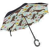 Paraguas de Viaje invertido Perro Setter irlandés Paraguas de protección UV a Prueba de Viento con Coche en Forma de C Golf al Aire Libre # sa680