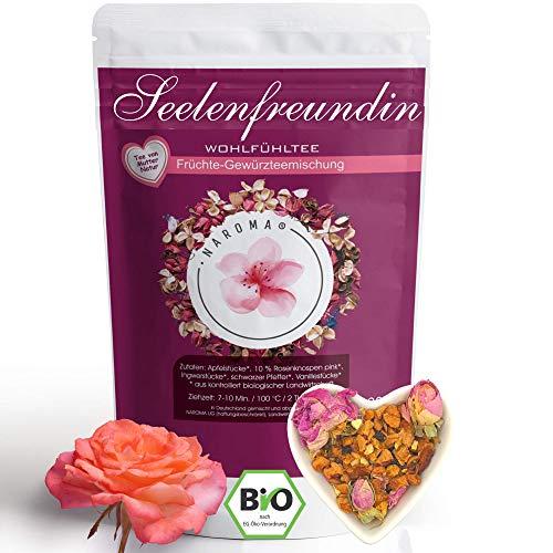 NAROMA Seelenfreundin TEE | Apfeltee, Rosenblütentee, Ingwertee, Pfeffer, Vanille BIO Tee lose- Teegeschenk Frauen- Entspannungstee - Tee zum verschenken - Freundinnen Tee Geschenk 80g