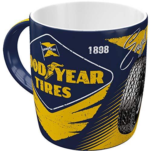 Nostalgic-Art Retro Kaffee-Becher - Goodyear - Eagle Tire, Große Lizenz-Tasse Goodyear-Motiv, Vintage Geschenk-Idee für Auto- & Motorrad Fans, 330 ml