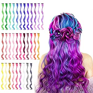 32 PCS Colored Clip in Hair Extensions, BEAHOT 17 Inch Rainbow Long Curly Wavy Hairpieces Clip in Synthetic, Halloween Cosplay Dress Up Fashion Party Christmas New Year Gift for Women Kids Girls
