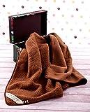 Manta de 100% Pura Lana Merina marrón Manta 160 x 200 cm Cálido y Natural Certificada por Woolmark. Muy Suave y Confortable.