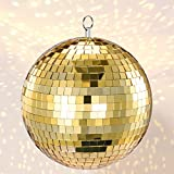 Mirror Ball, NuLink 8' Gold Disco DJ Dance Decorative Stage Lightning Ball with Hanging Ring