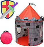"""Kiddey Knight's Castle Kids Play Tent -Indoor & Outdoor Children's Playhouse -- Durable & Portable with Free Carrying Bag – """"BONUS"""" Shield and Sword Set - Makes Perfect Gift for Boys & Girls"""
