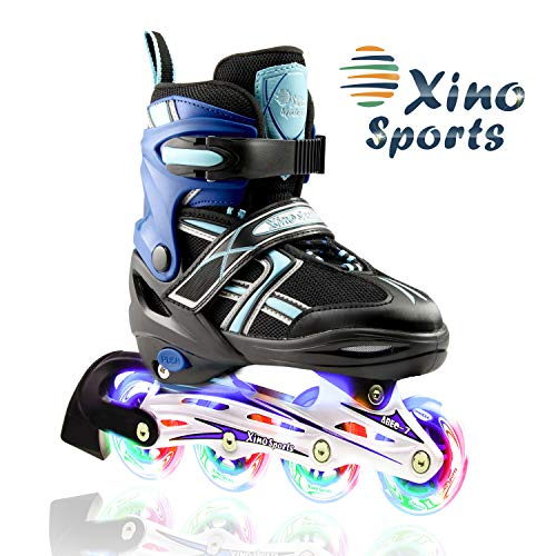 Fantastic Deal! XinoSports Adjustable Children's Inline Skates for Girls & Boys with Light Up Wheels...
