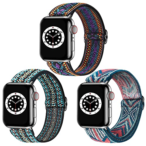 Dsytom 3 Pack Adjustable Elastic Band Compatible with Apple Watch Bands 42mm 44mm Scrunchies Stretchy Leopard Pattern Soft Strap Women Replacement Wristband for iWatch Series SE/6/5/4/3/2/1 Women