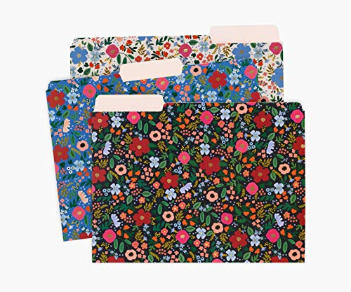 Rifle Paper Co. Wild Rose Assorted File Folders, Stay Organized with Our Stylish and Sturdy File Folders, Set of 6 Folders Includes 2 of Each Design and 12 Handy Adhesive Labels