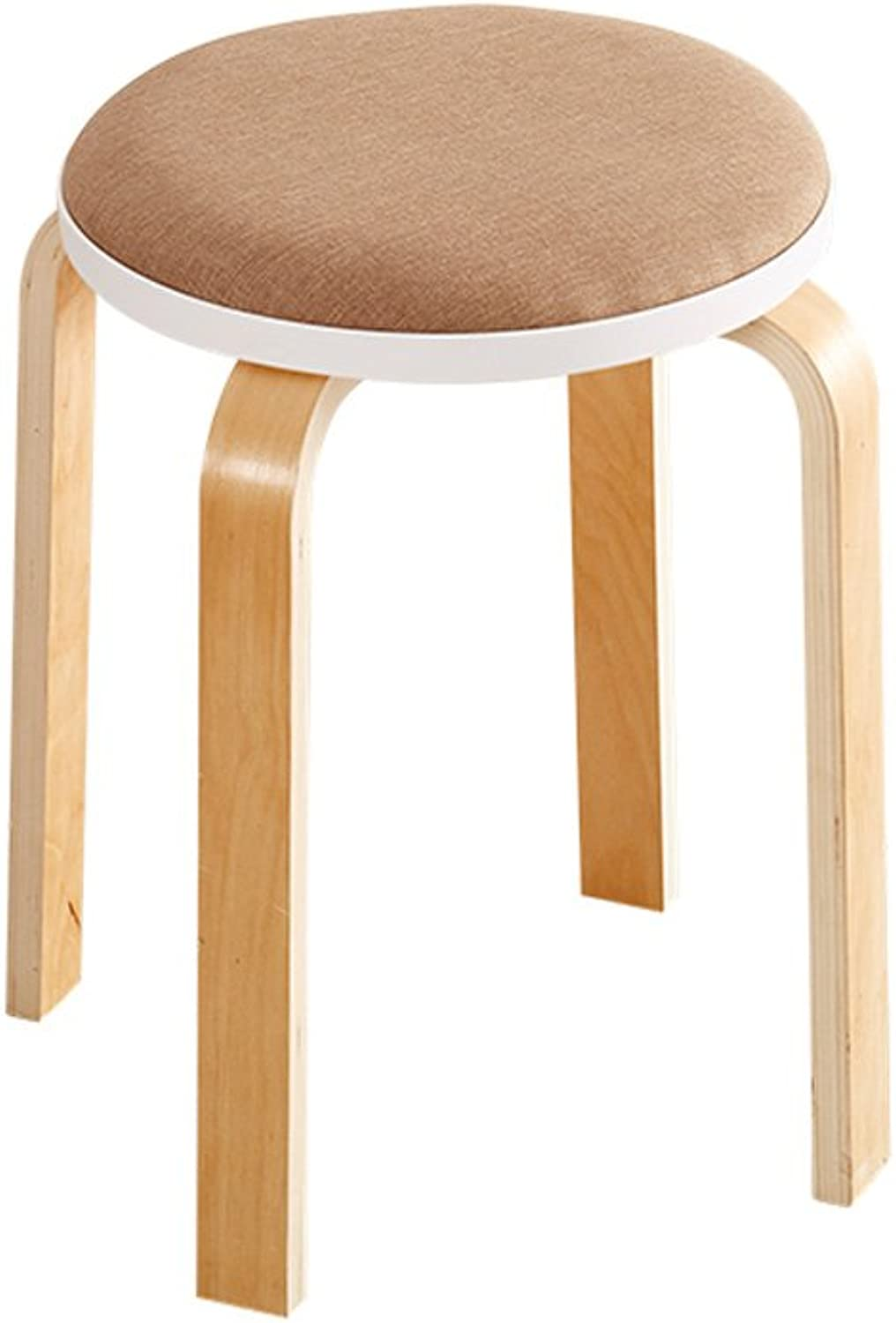 ZPWSNH Stool Creative Fashion Solid Wood Living Room Small Chair Home Simple Modern Fabric Table Bench Adult Chair 45x32cm Bar Stool (color   Bronze)