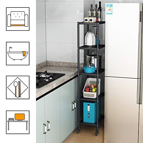 LXF Smal utskjutbar förvaring ställning för kökslucka, extra hög svart rostfritt stål rullvagn för smala utrymmen, lätt att montera
