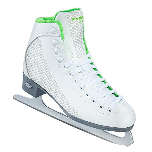 Riedell Skates - 113 Sparkle - Recreational Figure Ice Skates with Stainless Steel Spiral Blade | White and Lime | Size 5