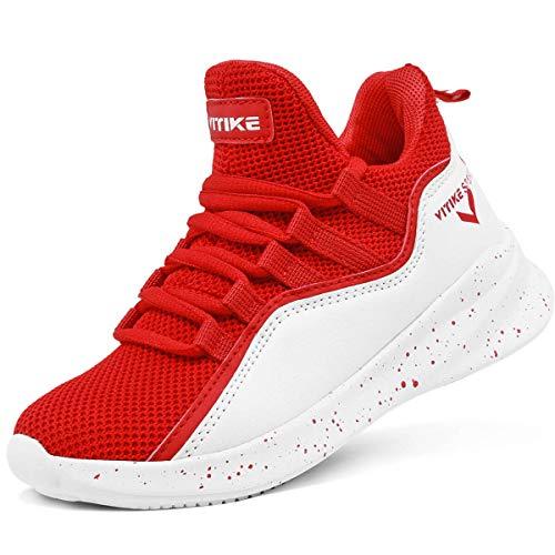 ASHION Jungen Basketballschuhe Turnschuhe Kinder Sportschuhe Herren Sneaker Laufschuhe Outdoor Schuhe(F Rot,36EU)