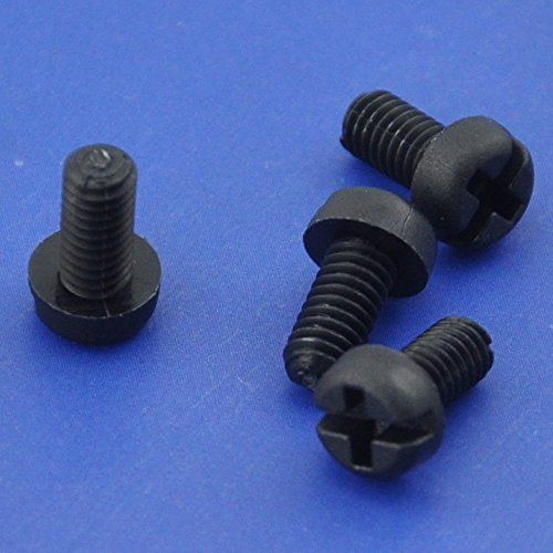 Electronics-Salon 1000pcs M4 x 8 mm Vis à tête Phillips/à fente en nylon noir.