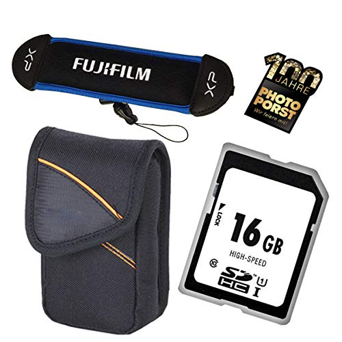 1A PHOTO PORST Accesorios Set - Caja de la cámara + Tarjeta SD de 16GB + Correa con Elemento Flotante para Fujifilm XP130, XP140