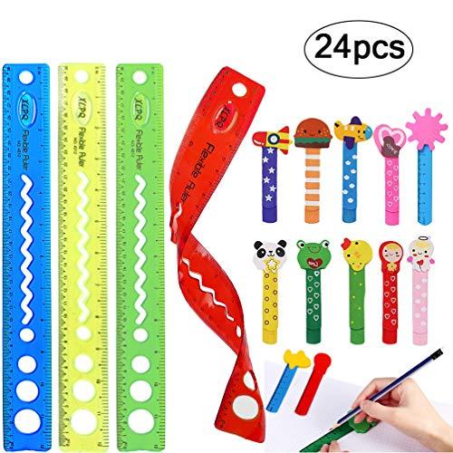 4pcs Trasparente 12 pollici Flessibile Plastica Righelli, 20 Coloratissimi Segnalibro Bambini in Legno Idea per Ufficio Bomboniera Battesimo Natale