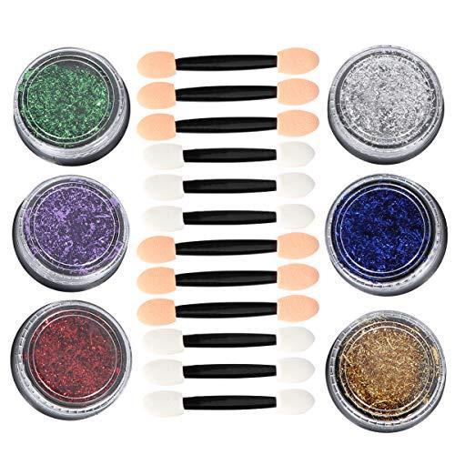 Pixnor 6 Pcs Feuille D'ongle Feuille de Paillette Puce à Ongles Paillettes Feuille D'ongle Flocons Nail Art Design Décoration 6 Couleurs