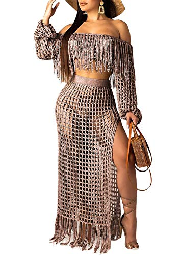 Women Sexy Tassels Hollow Out 2 Piece Outfits See Through Off Shoulder Crop Top and Split Maxi Dress Set Bikini Cover up Coffee XXXL